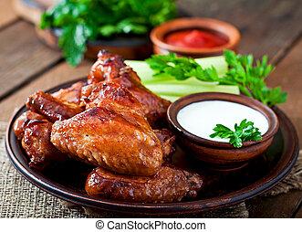 pollo, cocido al horno, alas
