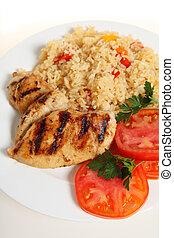 pollo, comida, cjun, sobre