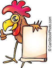 pollo, con, bandiera
