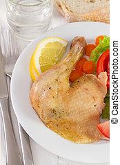 pollo, con, ensalada, y, limón, blanco, placa