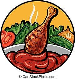 pollo, con, salsa