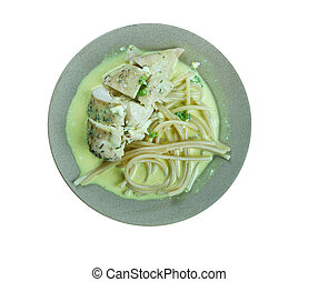 pollo, con, senape, mascarpone, marsala, salsa
