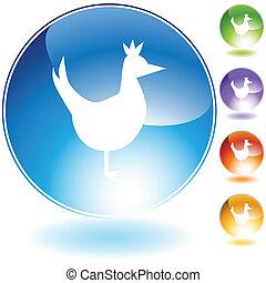 pollo, conjunto, icono