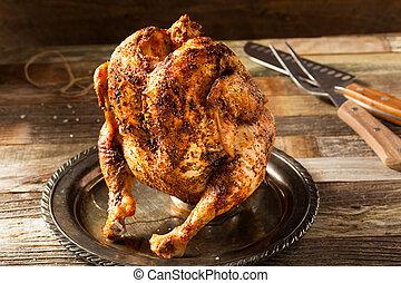 pollo cotto, birra, casalingo, lattina