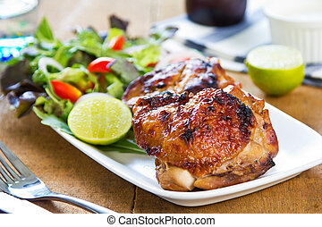 pollo cotto, con, insalata