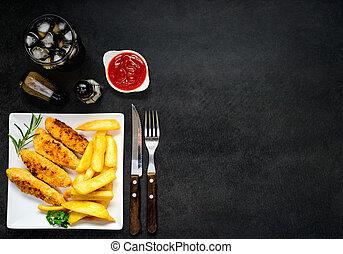 pollo, dita, con, fritto, patate, e, spazio copia