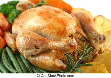 pollo, entero, asado