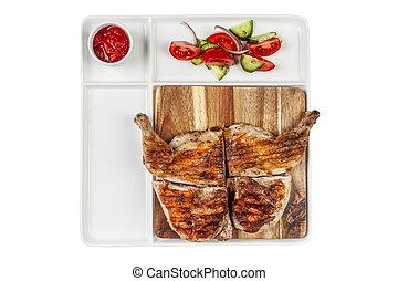 pollo entero, vegetabl, asado