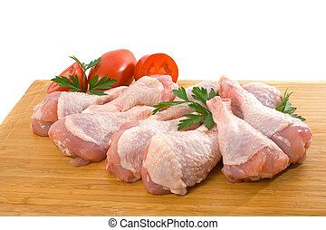 pollo fresco, piernas, crudo