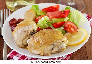 pollo frito, con, ensalada, blanco, placa