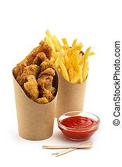 pollo, frito, fríe, francés