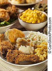 pollo, frito, meridional, casero