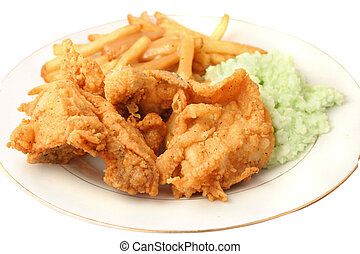 pollo, frito, meridional, cena