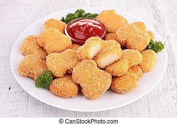pollo, frito, Pepitas