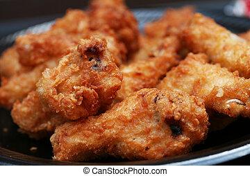 pollo, fritto, ali