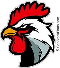 pollo, gallo, cabeza, mascota