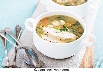 pollo, gnocchi, minestra, con, verdura