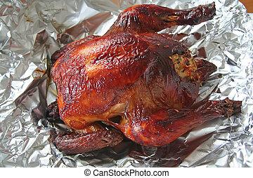 pollo, intero, arrosto
