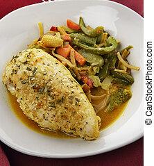pollo, limone, verdura