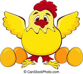 pollo, madre, con, bebé, huevo