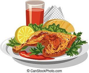 pollo, muslo, asado