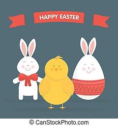 pollo, pasqua, carino, uovo, vettore, coniglietto