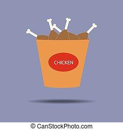 pollo, piernas, cubo, icono