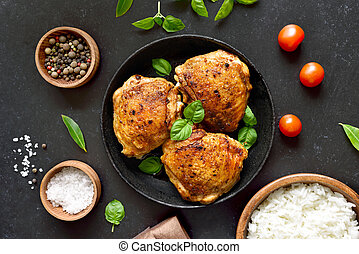 pollo, placa, muslos, frito