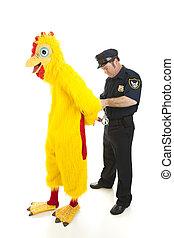 pollo, poliziotto, arresti, uomo, completo