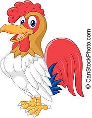 pollo, posar, caricatura, gallo