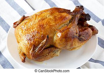 pollo rotisserie, piastra laterale, casalingo, bianco, close...