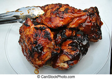 pollo, servire, bbq