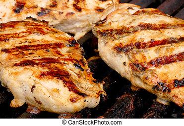 pollo, su, il, griglia