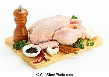 pollo, taglio, intero, asse