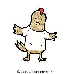 pollo, tee, caricatura, camisa