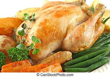 pollo, vegetales, asado