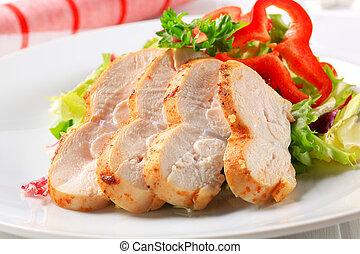 pollo, verde, pecho, ensalada