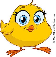 polluelo, sonriente