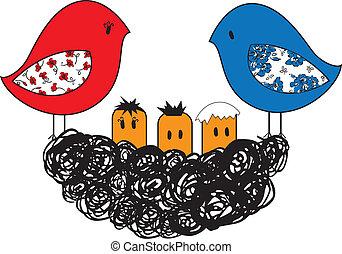 polluelos, nido, pájaro
