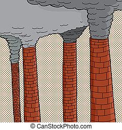 polluer, piles fumée