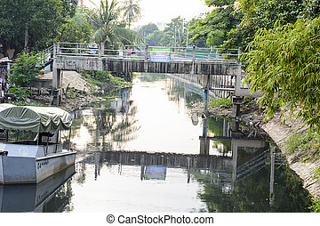 Polluted canal in Bangkok