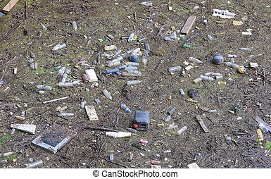 Polluted river - polluted river full of rubbish on the...