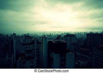 Polluted Sao Paulo - Retro image - Pollution over Sao Paulo,...