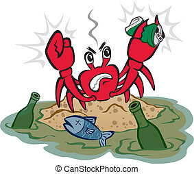 Illustration of an angry crab distressed by the pollution around him