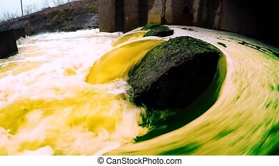 Polluted water flows into the river.