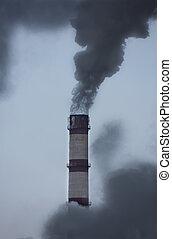pollutes, atmosphère, tube, fumer