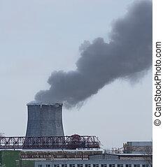 pollutes, atmosphère, usine