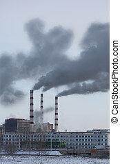 pollutes, plante, atmosphère, puissance