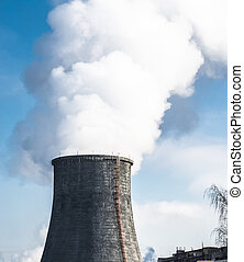 pollutes, tube, atmosphère, fumer