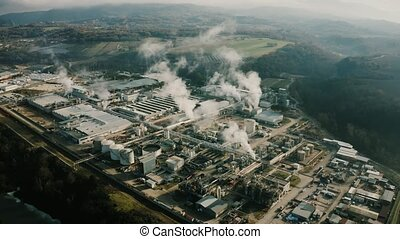 Polluting chemical plant, aerial view - Polluting chemical...